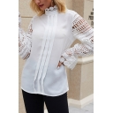Fancy Ladies Hollow out Sheer Lace Patched Long Sleeve Mock Neck Pleated Relaxed Shirt Top in White