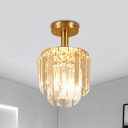 1 Bulb Semi Flush Ceiling Light Simple 2-Layer Cylinder Crystal Prism Flush Light Fixture in Brass
