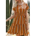 Trendy Womens Stripe Printed Short Sleeve V-neck Gathered Waist Ruffled Short A-line Dress