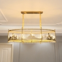 Oval Dining Room Island Lighting Contemporary Crystal 8 Bulbs Gold Pendant with Mountain Design