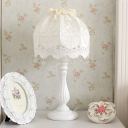 Lace Dome Fabric Nightstand Lamp Farm Style 1 Bulb Living Room Table Light in White with Drople