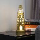 Gold Finish Castle Nightstand Light Cartoon Iron Integrated LED Table Lamp for Bedside, Warm/White Light
