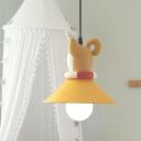 Kids Creative 1 Bulb Hanging Lamp Orange Dog/Duck/Fox Wearing Cone Collar Down Lighting Pendant with Resin Shade