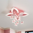 Pink Butterfly Ceiling Flush Cartoon LED Acrylic Flush Mount Recessed Lighting in Warm/White Light for Nursery