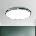 Nordic Round Flush Lighting Acrylic LED Bedroom Flush Mount Ceiling Lamp in White/Green/Blue with Headband Decor
