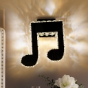 Black Musical Note Sconce Lamp Minimalism K9 Crystal LED Bedroom Wall Mounted Light