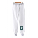 Trendy White Letter 13 Drawstring Waist Cuffed Ankle Carrot Fit Sweatpants for Men