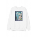 Trendy Letter Capri Print Graphic Long Sleeve Crew Neck Loose Pullover Sweatshirt for Women