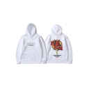 Cool Boys Chinese Letter Monster Graphic Kangaroo Pocket Drawstring Long Sleeve Relaxed Hoodie