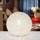 Ceramic Cutouts Number Ball Table Light Minimalism 1 Head Night Lamp in Beige for Bedroom