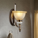 1/2-Head Wall Mount Light Retro Bedroom Petal Wall Sconce with Paneled Bell Tan Glass Shade in Black