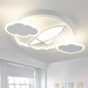 White Airplane and Cloud Flush Mount Cartoon LED Acrylic Flush Light Fixture in Warm/White Light
