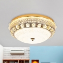 Crystal Gold Ceiling Mount Light Floral Vintage LED Flush Mount Lighting with Dome White Glass Shade