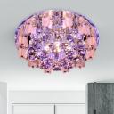 Beveled Crystal White Flush Light Circle LED Modernism Flush Mount Lighting in Warm/White/Multi Color Light