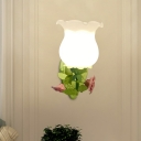 1 Head Metal Wall Mount Light Fixture Country Green/White Curved Arm Bedroom Sconce with Petal Frosted Glass Shade
