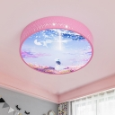 Pink Drum Ceiling Lamp Kids LED Acrylic Flush Light Fixture with Girl Pattern and Cutout Design