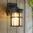 Traditional Cylinder Wall Light Sconce 1-Head Clear Crackle Glass Sconce Lamp in Black