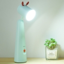 Rotatable Plastic Dome Reading Light Creative White/Green LED Night Table Lamp with Antler Decoration