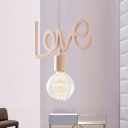 Resin Love-Shape Suspension Lamp Macaron 1 Bulb Pink Finish Hanging Ceiling Light