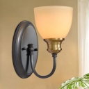 1/2-Head Wall Sconce Light Retro Dining Room Wall Lamp with Bowl Beige Glass Shade and Black Curved Arm