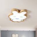 Acrylic Rabbit Flush Mount Light Cartoon LED Brown Ceiling Mounted Fixture in Warm/White Light