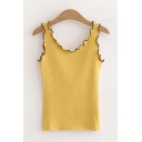 Stylish Ladies Solid Color Stringy Selvedge Contrast Piped Slim Fitted Tank Top