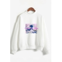 Stylish Womens Letter Aesthetic Png Pack Cartoon Graphic Long Sleeve Mock Neck Relaxed Pullover Sweatshirt