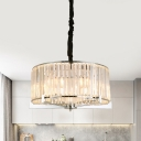 Ring Bedroom Chandelier Light Minimalism Clear Crystal 5/6 Bulbs Chrome Hanging Pendant Lamp