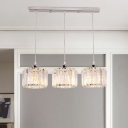 Simple Cylinder Cluster Pendant 3/8/10 Heads Clear Crystal Ceiling Suspension Lamp for Restaurant