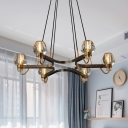Postmodern Cone Pendant Chandelier 6-Head Clear Crystal Block Ceiling Light in Gold for Restaurant