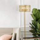 4-Bulb Drum Standing Light Minimalist Gold Beveled Crystal Floor Lamp for Living Room