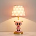 1-Head Bedroom Nightstand Light Cartoon Pink/Blue Night Table Lighting with Conical Fabric Shade