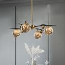 Black-Brass Radial Chandelier Postmodern 4/6 Bulbs Smoke Grey Glass Hanging Pendant over Dining Table
