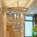 Gold 3 Bulbs Hanging Light Rustic Crystal Bead-Embellished Chain Chandelier for Dining Room
