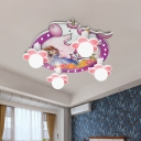 Princess And Unicorn Ceiling Lamp Cartoon PVC 4-Head Purple Flush Mounted Light Fixture, 6.5