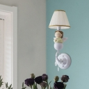 Kids Praying Angel Resin Wall Lighting Single-Bulb Wall Sconce with Pleated Fabric Shade in White