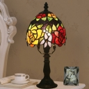 Stained Glass Dark Coffee Desk Lamp Bowl 1 Light Tiffany Table Light with Rose Pattern