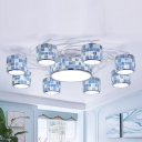 Drum Semi Flush 11 Lights Blue Stained Glass Tiffany Mosaic Patterned Ceiling Light with Spiral Design