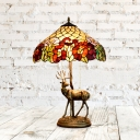 2 Lights Deer Pull Chain Desk Lamp Baroque Bronze Resin Petal Patterned Night Table Light with Bowl Hand Cut Glass Shade