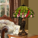 Bowl Night Lighting 2 Heads Stained Glass Mediterranean Nightstand Lamp in Green with Pull Chain