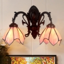 2 Lights Ruffle Wall Lighting Ideas Tiffany Pink/White/Pink-Blue Sconce Light Fixture for Living Room