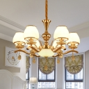 6 Heads Chandelier Pendant Light Modern Bedroom Drop Lamp with Bowl White Glass Shade in Gold