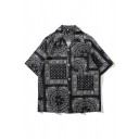 Ethnic Guys Allover Floral Printed Short Sleeve Spread Collar Button up Oversize Shirt Top