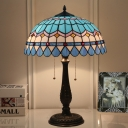 Bronze Domed Desk Light Tiffany 2 Lights Hand Cut Glass Night Lighting with Pull Chain