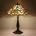 Baroque Tower Night Table Light 2 Heads Stained Glass Rose and Bird Patterned Nightstand Lamp in Bronze