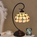 Dark Coffee Curvy Arm Night Light Baroque 1 Head Metal Desk Lamp with Lattice Bowl Cut Glass Shade