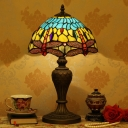 1-Light Table Lamp Tiffany Yellow and Blue Dragonfly Glass Nightstand Light with Gem-Like Cabochons