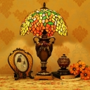 Tiffany Wisteria Scalloped Night Lamp 1 Bulb Stained Art Glass Table Lighting in Bronze
