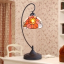 Black Curved Arm Table Light Tiffany Style 1 Light Stained Art Glass Sunflower Patterned Night Lamp with Bowl Shade