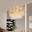 Tiered Oval Crystal Chandelier Contemporary 10-Light Dining Room Suspension Light in Gold